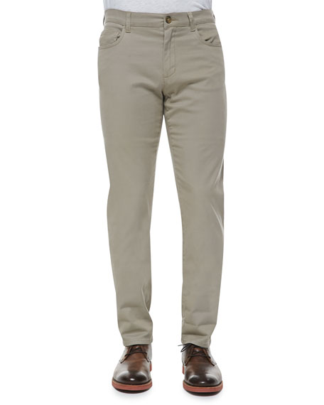 Vince 5-Pocket Stretch-Cotton Pants, Khaki