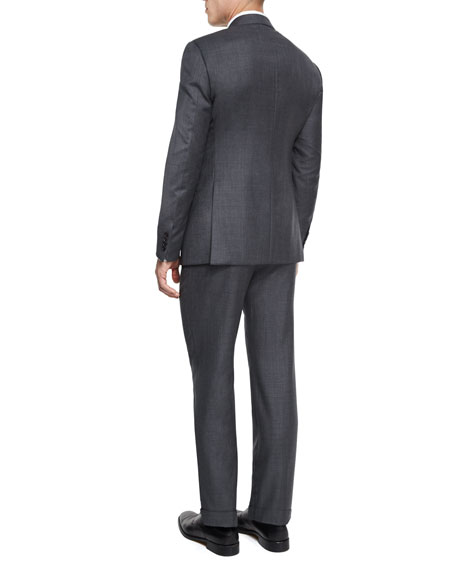 G-Line New Basic Sharkskin Two-Piece Wool Suit, Charcoal