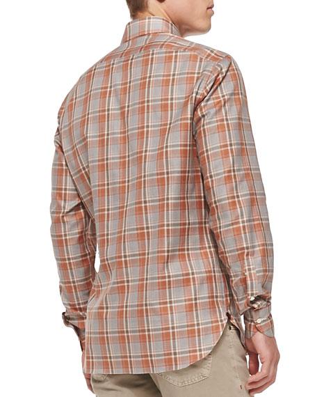 Plaid Woven Shirt, Brown