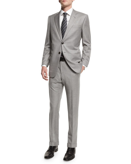 Taylor Solid Two-Piece Wool Suit, Light Gray