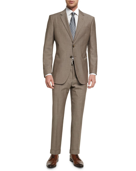 Taylor Solid Sharkskin Two-Piece Wool Suit, Tan