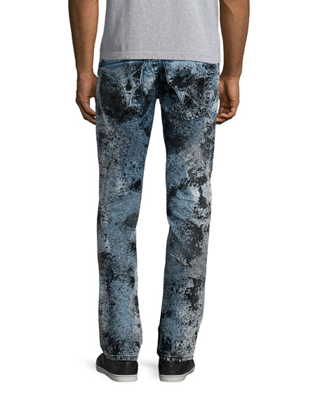 Bleached & Distressed Zipper Jeans