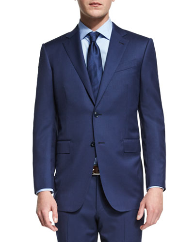 Milano Micro-Check Two-Piece Wool Suit, Blue