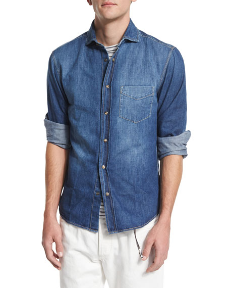 Brunello Cucinelli Western-Style Denim Shirt, Vintage Wash