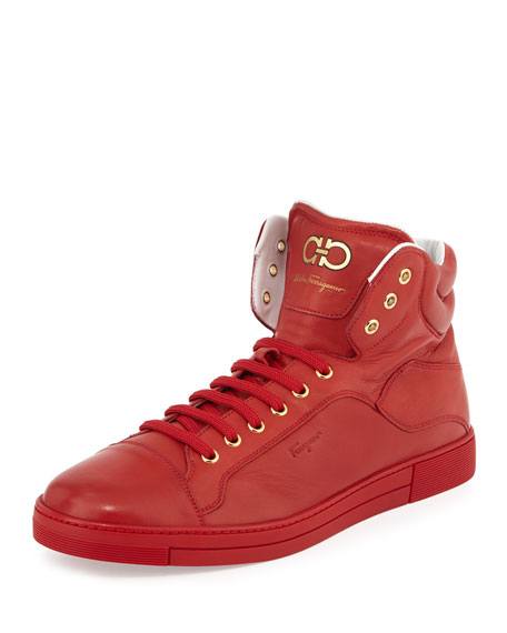 Salvatore Ferragamo Lambskin High-Top Sneaker, Red