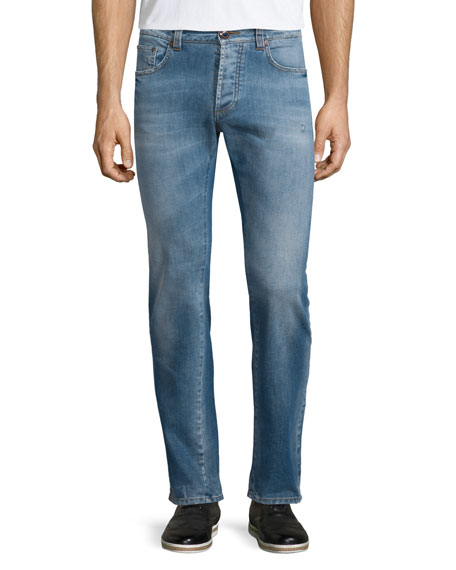 Etro Five-Pocket Faded Stretch Denim Jeans, Blue