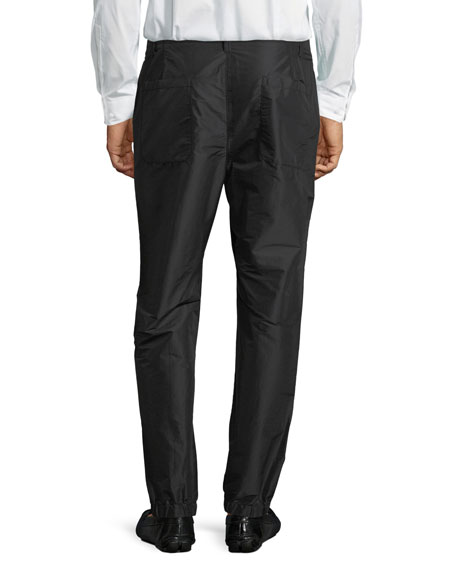 Flat-Front Combo Jogger Pants, Black/Midnight