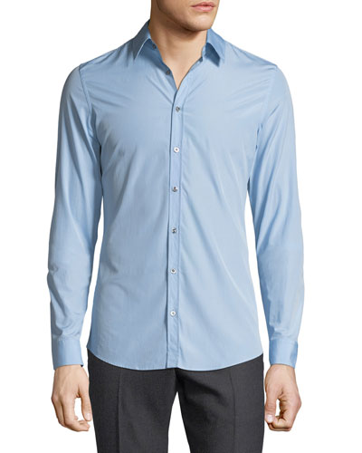 Basic Slim-Fit Woven Dress Shirt