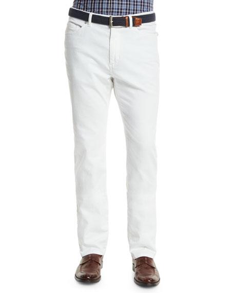 Peter Millar Five-Pocket Stretch Denim Pants, White
