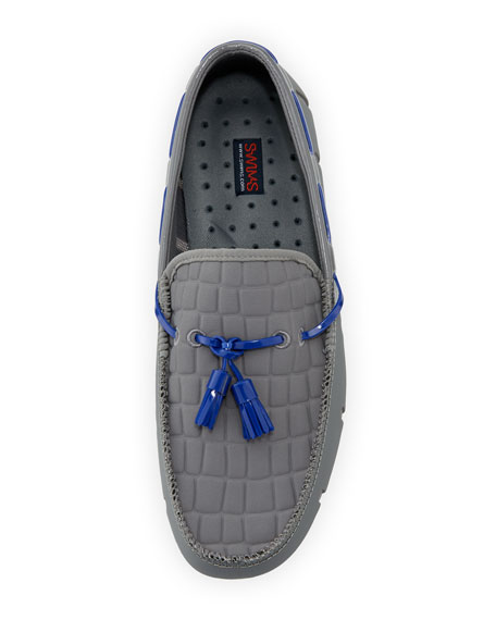 Rubber Penny Loafer with Faux-Croc Trim