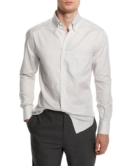 Brunello Cucinelli Basic-Fit Small-Check Sport Shirt, Gray