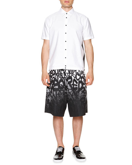 Short-Sleeve Shirt with Mesh Panels, White