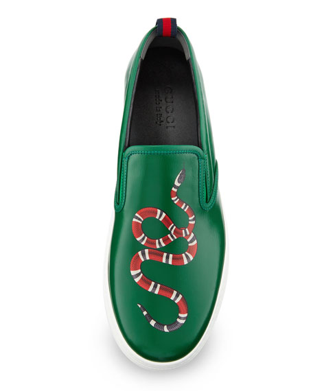 Dublin Snake-Print Leather Slip-On Sneaker