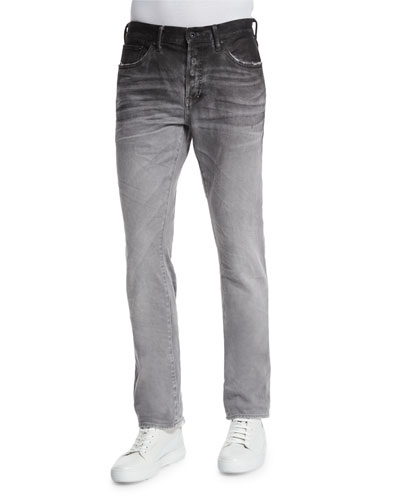 Ombre Slim-Fit Denim Jeans, Gray