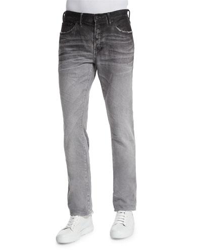 Ombre Slim-Fit Denim Jeans, Gray