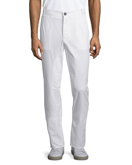 Brunello Cucinelli Flat-Front Cotton Pants, Off White