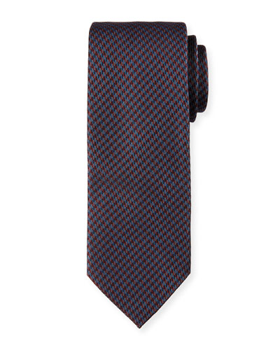 Woven Mini-Houndstooth Silk Tie