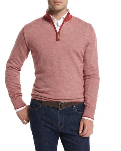 Contrast-Collar Quarter-Zip Sweater, Summer Coral