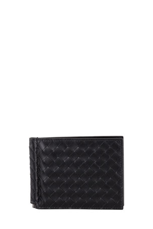Bottega Veneta Basic Woven Bi-Fold Clip Wallet