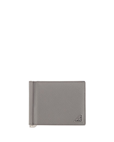 Bicolor Saffiano Leather Card Case w/ Money Clip