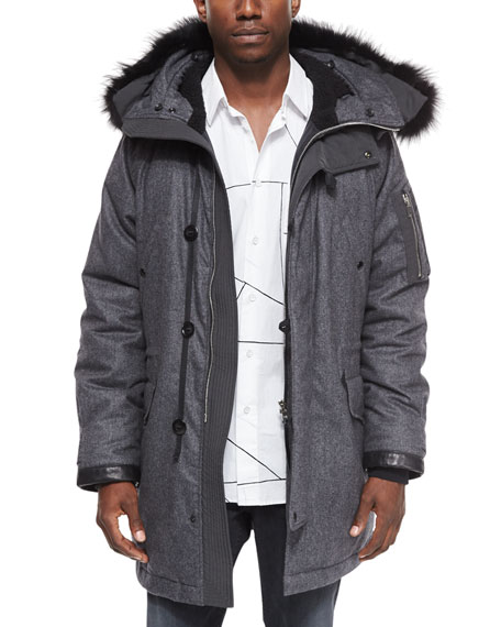 Rag & Bone Mixed Media Parka with Fur-Trimmed