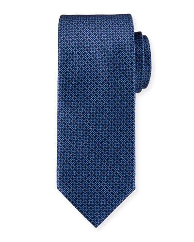 Circle-Link Printed Silk Tie, Blue