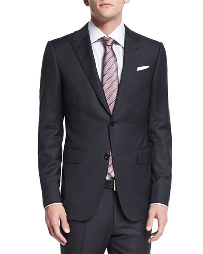 Textured Solid Two-Piece Suit, Black