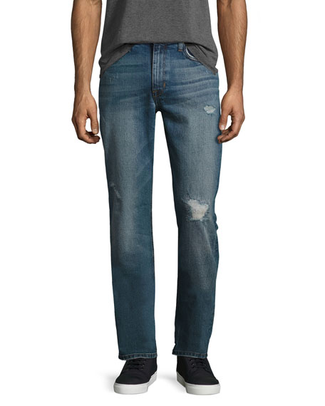 The Brixton Distressed Denim Jeans, Blue