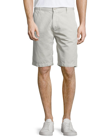 7 For All Mankind Linen-Cotton Flat-Front Chino Shorts