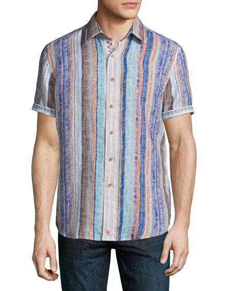 Robert Graham South Dakota Textured-Stripe Short-Sleeve Shirt,