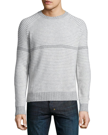 Neiman Marcus Cashmere by Billy Reid Striped Crewneck Sweater, Gray