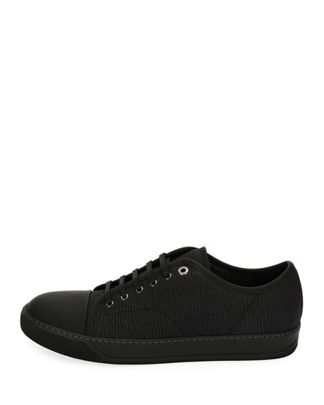 Textured Leather Low-Top Sneaker, Black