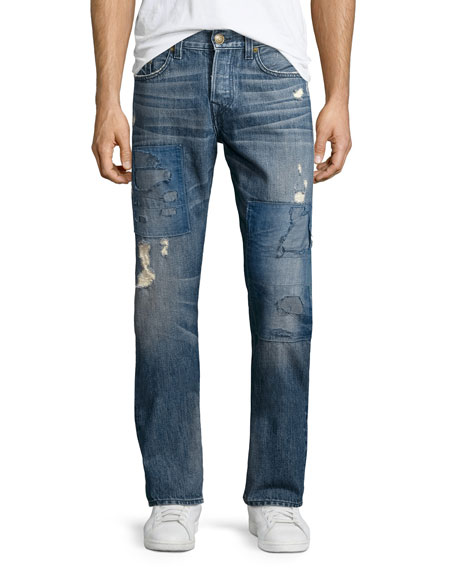 True Religion Geno Distressed Patchwork Denim Jeans