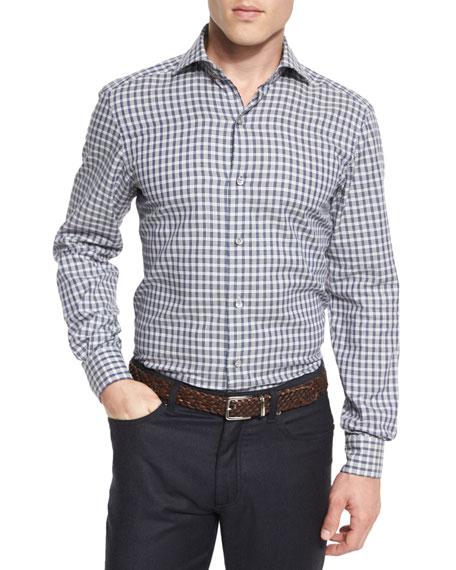 Ermenegildo Zegna Grid-Check Long-Sleeve Sport Shirt, Blue
