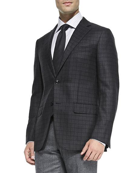 Ermenegildo Zegna Check Wool Jacket, Charcoal/Burgundy