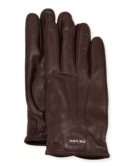 Napa Leather Gloves w/ Logo, Brown