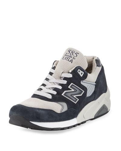 Men's 585 Bringback Suede-Mesh Sneaker, Navy/Gray