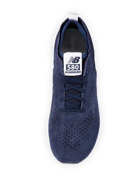 Men's 580 Deconstructed Suede Sneaker, Blue/Silver