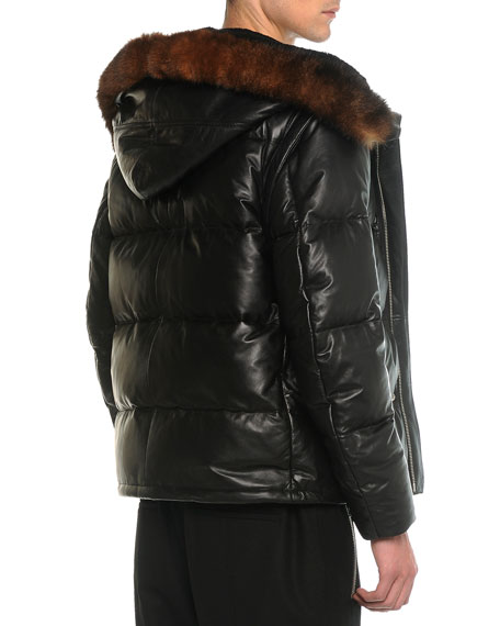 Leather Puffer Jacket with Opossum Fur, Black