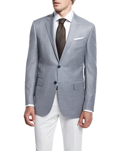 Milano Check Two-Button Jacket, Light Blue/Creme