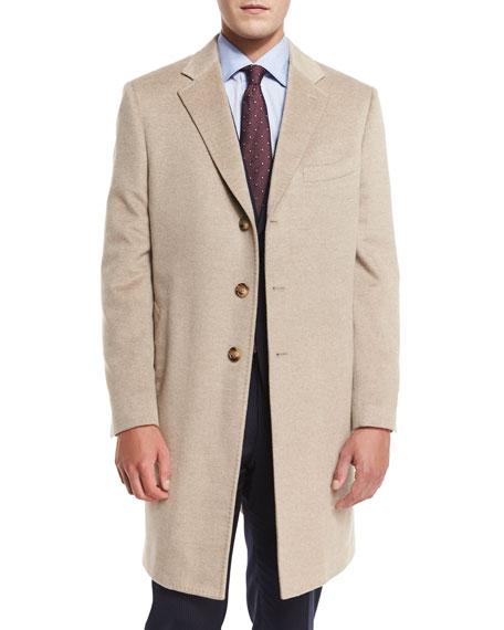Neiman Marcus Cashmere Three-Button Long Coat, Oatmeal