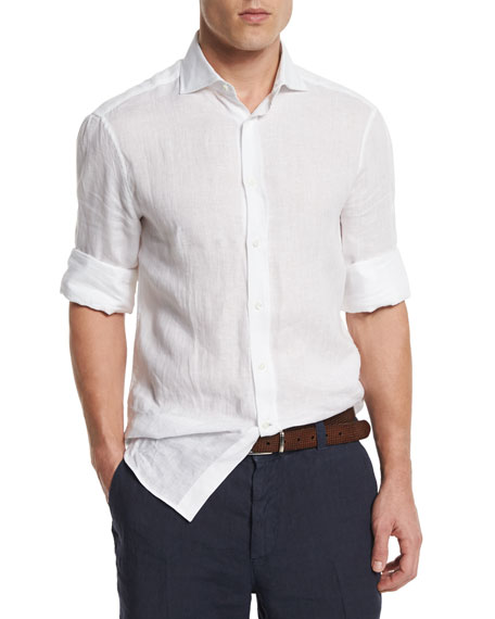 Brunello Cucinelli Solid Long-Sleeve Linen Shirt