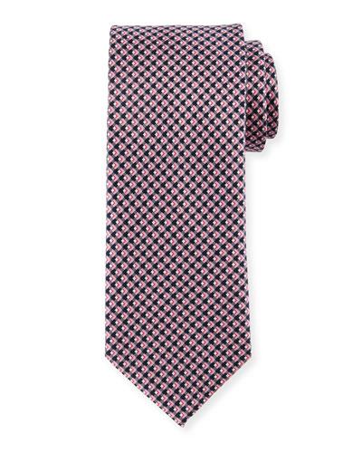 Diamond-Print Silk Tie