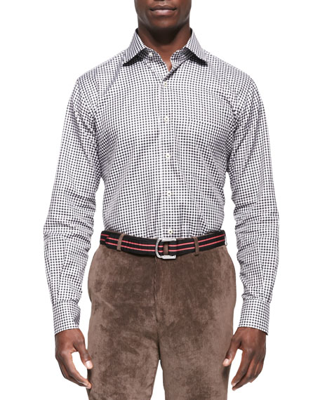Peter Millar Gingham-Check Sport Shirt, Black