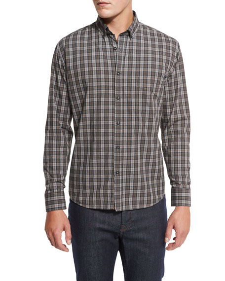 Billy Reid Plaid Cotton Sport Shirt, Gray/Rust