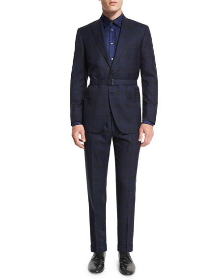 Brioni Tonal Plaid Two-Piece Wool Suit, Blue