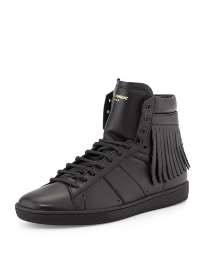 Men's Leather High-Top Sneakers with Fringe-Detail