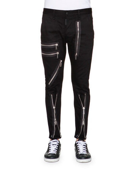 Dsquared2 Zipper-Trim Slim-Fit Pants, Black