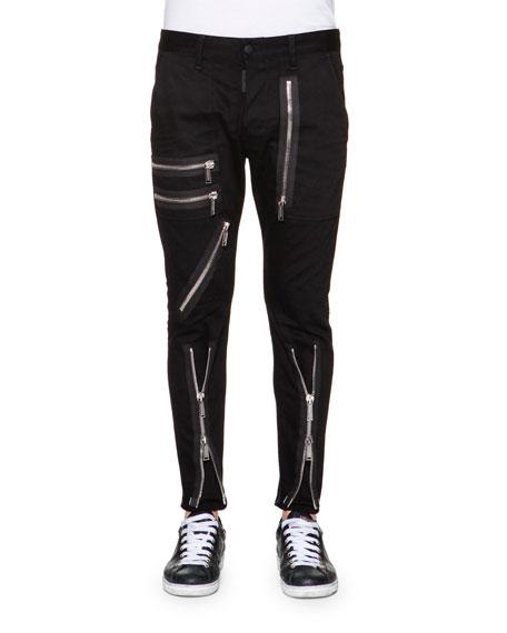 Dsquared2 Zipper-Trim Slim-Fit Pants, Black
