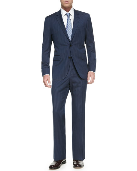 Double Pinstripe Two-Piece Suit, Blue